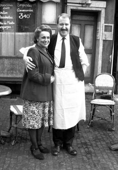 Gorden Kaye and Carmen Silvera in a scene of Allo Allo.