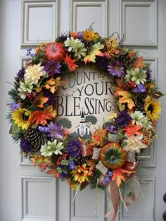 """""""Count you Blessings"""" Fall Floral Door Wreath Arrangement - Thanksgiving"""