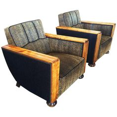 Pair of Art Deco Swedish Birch Lounge Chairs | From a unique collection of antique and modern armchairs at https://www.1stdibs.com/furniture/seating/armchairs/