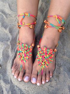Bare foot o Sandalias de Pies Descalzos, tejidos en Crochet. By Kjashab.