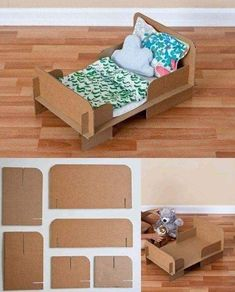 Cama de juguete reciclando cartón-I can't understand the instructions, but the pictures do a great job! Cardboard Dollhouse, Cardboard Crafts, Diy Dollhouse, Cardboard Kitchen, Homemade Dollhouse, Cardboard Box Houses, Dollhouse Miniatures, Diy Cardboard Furniture, Barbie Furniture