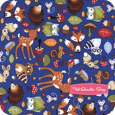 Timeless Treasures Blue Four-Way Woodland Animals Yardage SKU# C1107-BLUE - Fat Quarter Shop,  I like the look of the hedgehog, fox and owl in this one!