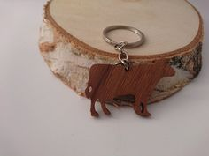 Wooden Cow Keychain Walnut Wood Animal Keychain by PongiWorks