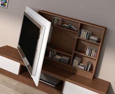 La TV esconde el armario para guardar películas...