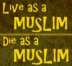 Live as a muslim, die as a muslim. Stay on the right path. Islam.