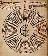 The Abingdon Labyrinth is found in an early 11th century copy of Boethius, produced at Abingdon Abbey. The Illustration of a six-path, seven-wall labyrinth, contains a poem, Assumpta est Maria ad Caelestia, Alleluia! (Mary is assumed into Heaven, Alleluia!), which can be read in either of two ways: by following the path of the labyrinth, which gives one arrangement of lines, or according to the circles, which gives a different combination.