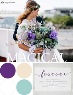 Wedding Color Trends! Magical color scheme for Spring: Plum, Custom Turquoise, Champagne, and White. Check out more fantastic color combos at MagnetStreet.com!