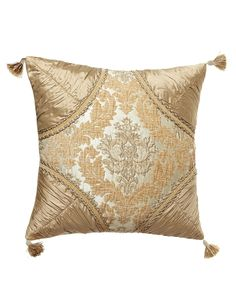 "Florentine Brocade Pillow with Silk Dupioni Corners, 20""Sq., Oyster"