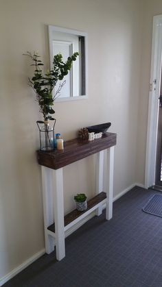 #Entrance, #EntryTable, #HallwayTable, #RecyclingWoodPallets I couldn't find an entry table narrow enough to fit in my hallway. I wanted something that I could throw my keys on as I entered my home. So I decided I'd make it.