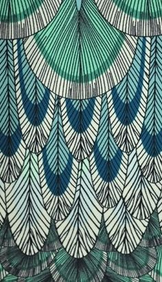 Designs in blue and green...