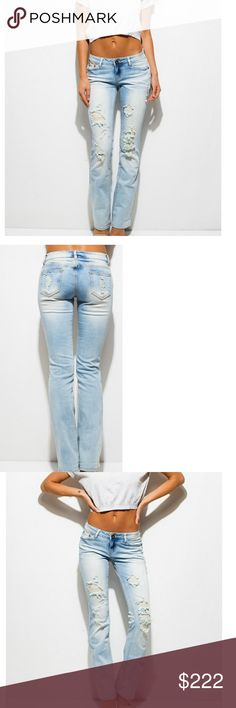 COMING! Light Wash Distressed Jeans These light wash distressed boot cut jeans are perfection. Distressed denim with belt loops, five count pocket design and a zip and button closure.   98% Cotton 2% Spandex Jeans