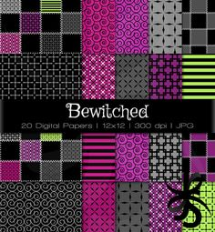 Digital Scrapbook Papers-Bewitched-Halloween Clipart-Gothic Patterns-Nightmare Before Christmas-Patchwork-Witches-Instant Download Clip Art on Etsy, $3.50