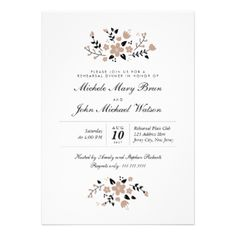 Customize this Stylish Beautiful Contemporary Modern Pretty Floral Wedding Rehearsal Dinner Invitation, fully customizable and set as a template for your easy customization. Beige flowers in combination with black on a white background make this invitation look very lovely crisp and fresh. You can also change the corners of this invitation to rounded which will work perfectly with this design. Matching Wedding Invitation, RSVP Card, Bridal Shower Invitation and Thank You Card are listed ...