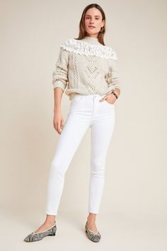 Ella Moss Mid-Rise Skinny Ankle Jeans by in White Size: Women's Denim at Anthropologie Skinny Ankle Jeans, Skinny Fit, Ella Moss, Sexy Jeans, World Of Fashion, White Jeans, Thighs, Anthropologie, Winter Fashion
