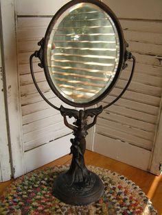 Antique Art Nouveau Lady Metal Vanity Mirror by TheVintageMoment