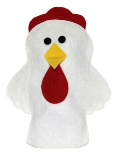 CHICKEN HAND PUPPET:   Made of high quality felt this hand puppet is hand made. All markings are done with permanent marker. Beak, Comb and eyes are all glued on with a non-toxic tacky glue