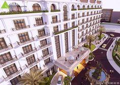 Mẫu thiết kế khách sạn cổ điển 4 sao tại Biển Hải Tiến.Một công trình khách sạn với kiến trúc Châu Âu sang trọng và đẳng cấp.Thể hiện sức hút với khách du lịch.