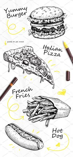 Detailed Hand Drawn Illustrations on Behance Fast Food Sketch Set. Detailed Hand Drawn Illustrations on Behance The post Fast Food Sketch Set. Detailed Hand Drawn Illustrations on Behance & ART appeared first on Food . Drawing Sketches, Pencil Drawings, Art Drawings, Sketching, Food Drawing, Painting & Drawing, Drawing Drawing, Food Sketch, Sketch Ideas