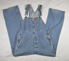 Dickies Men's Bib Denim Overalls Carpenter Pants Button Fly Size 32 x 32 #Dickies #Carpenter