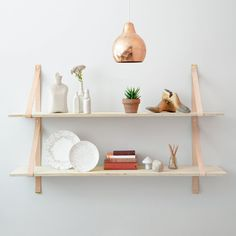 Assemblages Leather Shelves Double - leather straps for shelving | Lightly