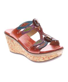 Look at this L'Artiste by Spring Step Orange Queenston Leather Wedge on #zulily today!