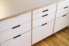 Formica faced plywood kitchen using IKEA base units and Plykea doors, drawer fronts & worktops.