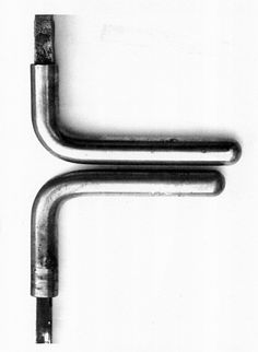 Two doorhandles from the Wittgenstein House by the philosopher Wittgenstein and the architect Engelmann. Wittgenstein wanted to design a house in which everything up to the smallest detail would be perfectly logical. This led him to change the sizes of the handles depending on the proportion, material and function of the door. The upper handle for a metal door between the hall and the salon is 8mm longer than the one beneath it for a wooden door on the second floor. That's precision of…