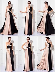 Sheath/Column Floor-length Knit Convertible Dress