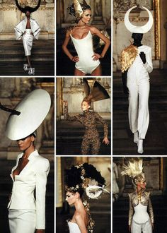 Givenchy by Alexander McQueen S/S 1997 Haute Couture - hats by Philip Treacy. McQueen was quite the innovative eccentric, when it was welcomed in fashion. Couture Fashion, Fashion Art, Editorial Fashion, High Fashion, Fashion Show, Alexandre Mcqueen, Mcq Alexander Mcqueen, Givenchy, Fashion Designer