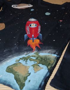 Hand painted 100% cotton jersey long-sleeved Rocket In Space