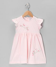 Love this Pink Bird & Flowers Angel-Sleeve Dress - Infant & Toddler on #zulily! #zulilyfinds