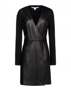 Diane von Furstenberg Leather & Knit Wrap Dress - Shop more fashion week street styles at ShopBAZAAR.com http://shop.harpersbazaar.com/trends/fashion-month-recap/