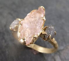 Raw Morganite Diamond Gold Engagement Ring Wedding Ring Custom One Of a Kind Gemstone Conflict Free Three stone Ring