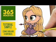 COMO DIBUJAR A RAPUNZEL : Dibujar princesas disney en español - Dibujos Kawaii faciles - YouTube