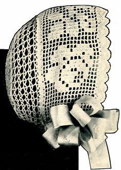 Vintage Antique Baby Bonnet Crochet Pattern