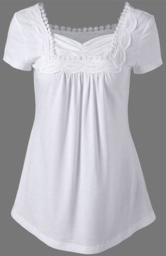 25b8512d74e07 Sweetheart Neck Crochet Panel Long T-Shirt - White -