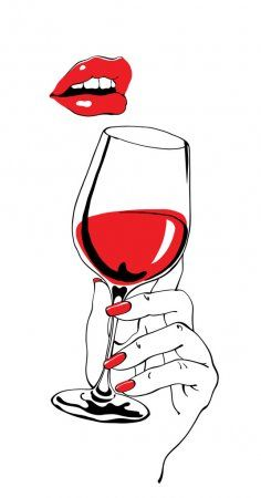 royalty-free Talking red lips and glass of wine holding hand as retro party poster design element stock vector 64965961 from Depositphotos collection of millions of premium high-resolution stock photos, vector images and illustrations. Simple Illustration, Art Party Foods, Wine Glass Drawing, Deco Cinema, Art Party Decorations, Art Party Invitations, Wine Painting, Retro Party, Wine Art