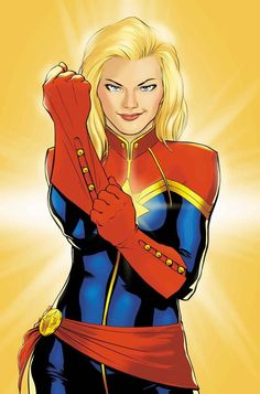 Carol Danvers' Captain Marvel. I am looking through Marvel's female characters. Avengers needs to be less of a sausage fest in the future.