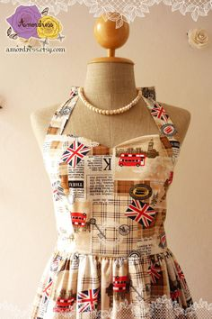 London Dress in Brown UK Flag London Bus Vintage Inspired Graphic Party Tea Dress Vintage Inspired Dress Once Upon a Time -Size S-