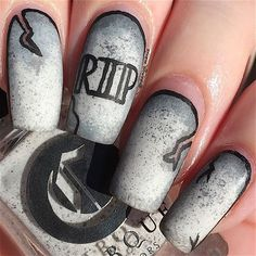 """Tombstone nails! I think these turned out pretty cool! I used @cirquecolors """"Hatch"""" for the tombstones and shaded & outlined with acrylic paints! I filmed a tutorial, but it's not very helpful Would you still like to see it? #notd #nailart"""