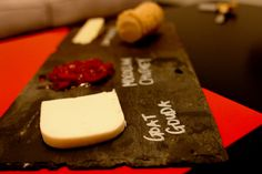 Cheeseboard made from old roof tile.