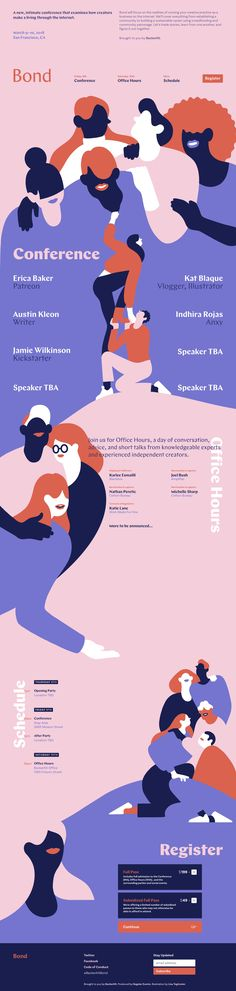 Gorgeous illustrations by Lisa Tegtmeier in this colorful One Pager promoting Bond – an event hosted by BackerKit where they discuss how creators make a living through the internet. Game Design, Graphisches Design, Layout Design, One Pager Design, Design Ideas, Flat Illustration, Digital Illustration, Coral Pantone, Typography Design