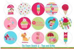 "M2MG ICE CREAM SWEETIE TWO 1"" BOTTLE CAP IMAGE COLLAGE SHEET 