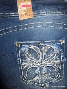 WALLFLOWER NWT Bootcut Jeans Womens PLUS 22 LUSCIOUS CURVY Rhinestone BLING NEW #Wallflower #BootCut