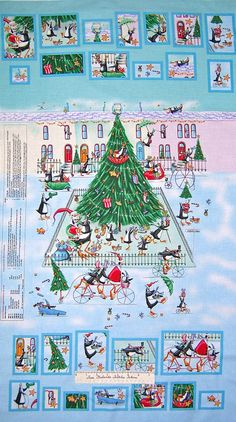 fabric bolts shop art | Henry Glass Fabric Penguins on Ice Paper D'Art Advent Calendar Blue ...