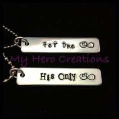 HandStamped Couples Necklaces Set Many Options by MyHeroCreations, $22.00