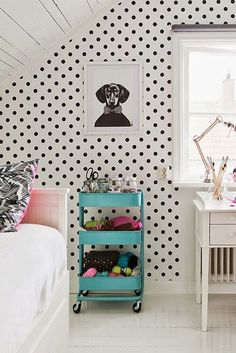 ikea cart and polka dots. super cute. kitchen cart for the craft room