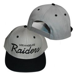 e4abb7052 NFL Los Angeles Raiders 2 Tone Gray Black Old School Retro Snapback Cap