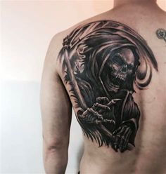 horrible grim reaper tattoo designs & meanings – perfect … – Tattoo World Tatuaje Grim Reaper, Grim Reaper Tattoo, Dope Tattoos, Skull Tattoos, Tattoo Designs And Meanings, Best Tattoo Designs, Full Body Tattoo, Back Tattoo, Life Death Tattoo