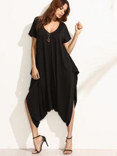 30c4d3e89e94 Shop Black V Neck Short Sleeve Harem Jumpsuit online. SheIn offers Black V  Neck Short